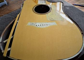 Steel string guitar - soundboard replacement (before)